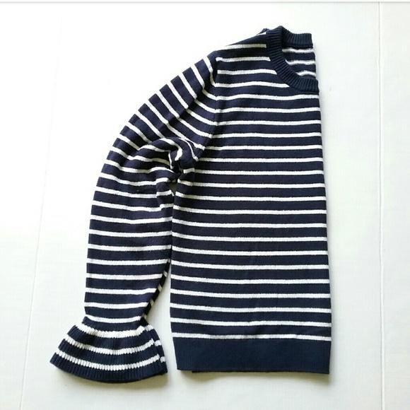 J. Crew Sweaters - J Crew Navy Blue & White Striped Crewneck Sweater